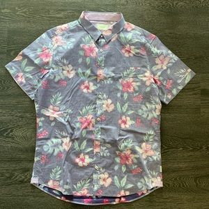 7 Diamonds floral short-sleeve button up
